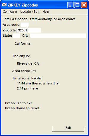 Zipcode and US area code lookup tool can feed results via keystrokes to apps. Screen Shot